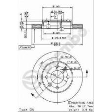 Тормозной диск передний Brembo D=238