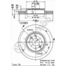 Тормозной диск передний Brembo D=280
